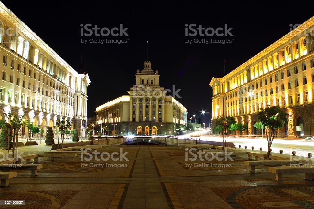 Sofia by night stock photo