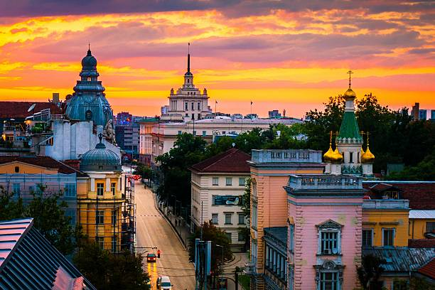 Sofia in Orange Sofia, capital of Bulgaria on a sunset, magnificent view from above over the historical buildings bulgaria stock pictures, royalty-free photos & images