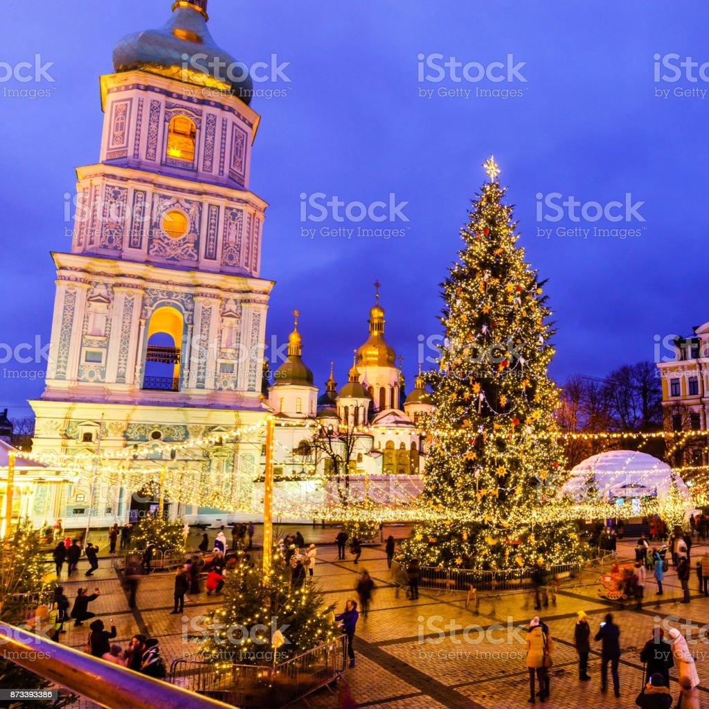 Christmas Holidays Pictures.Sofievskaya Square In Christmas Holidays Kiev Ukraine Stock