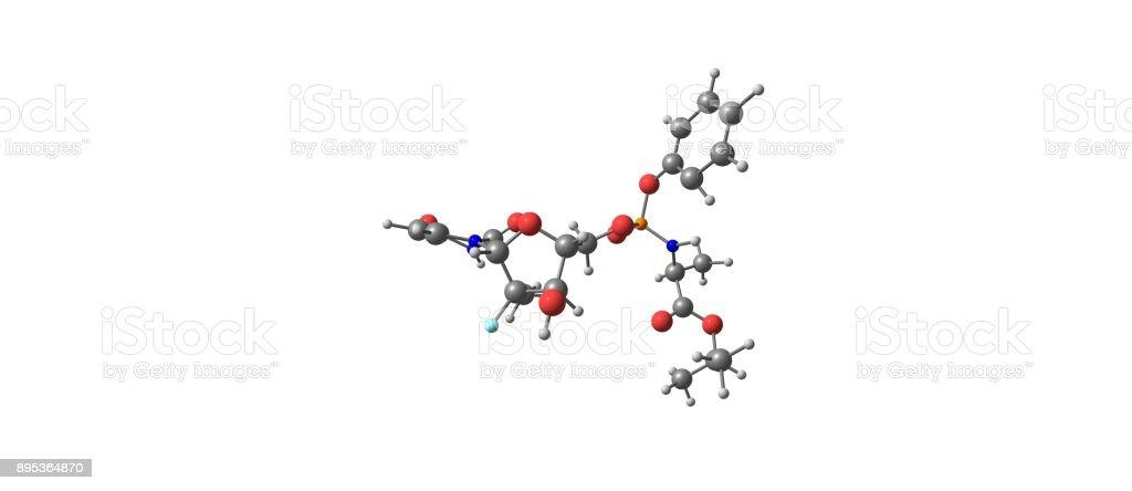 Sofosbuvir molecular structure isolated on white stock photo