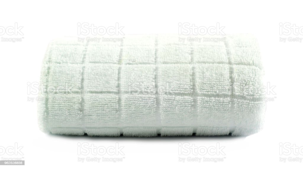 soft bath towel rolled up on a white isolated background - Royalty-free Bathroom Stock Photo