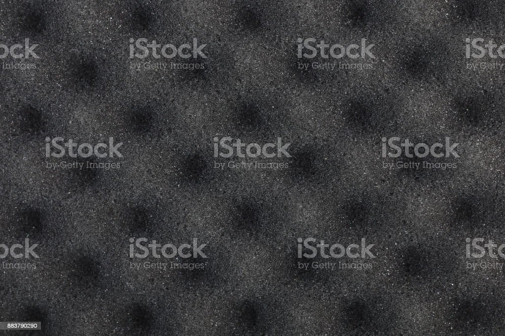 soft black cushion sponge for pattern and background stock photo