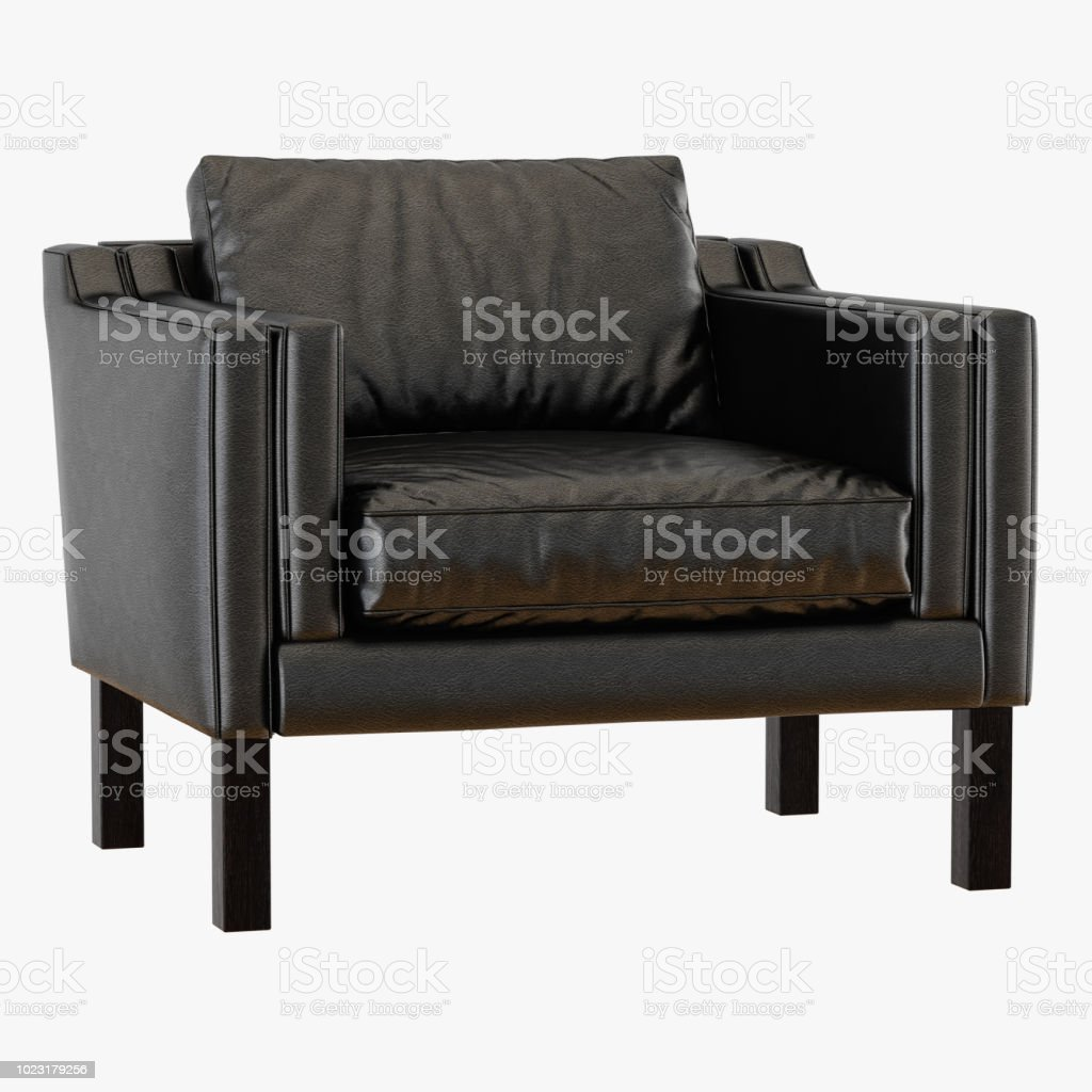 Surprising Soft Black Leather Armchair Stock Photo More Pictures Of Dailytribune Chair Design For Home Dailytribuneorg