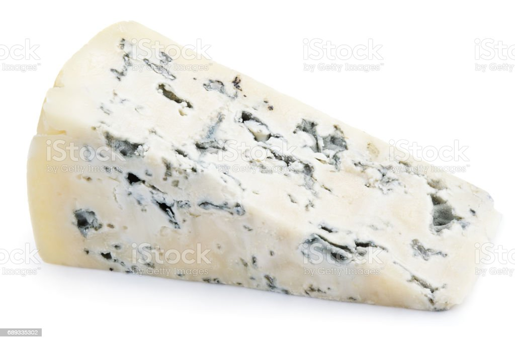 Soft blue cheese with mold isolated on white stock photo