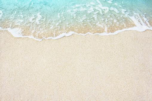 istock Soft blue ocean wave on sandy beach 546461290