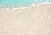 Soft blue ocean wave on sandy beach