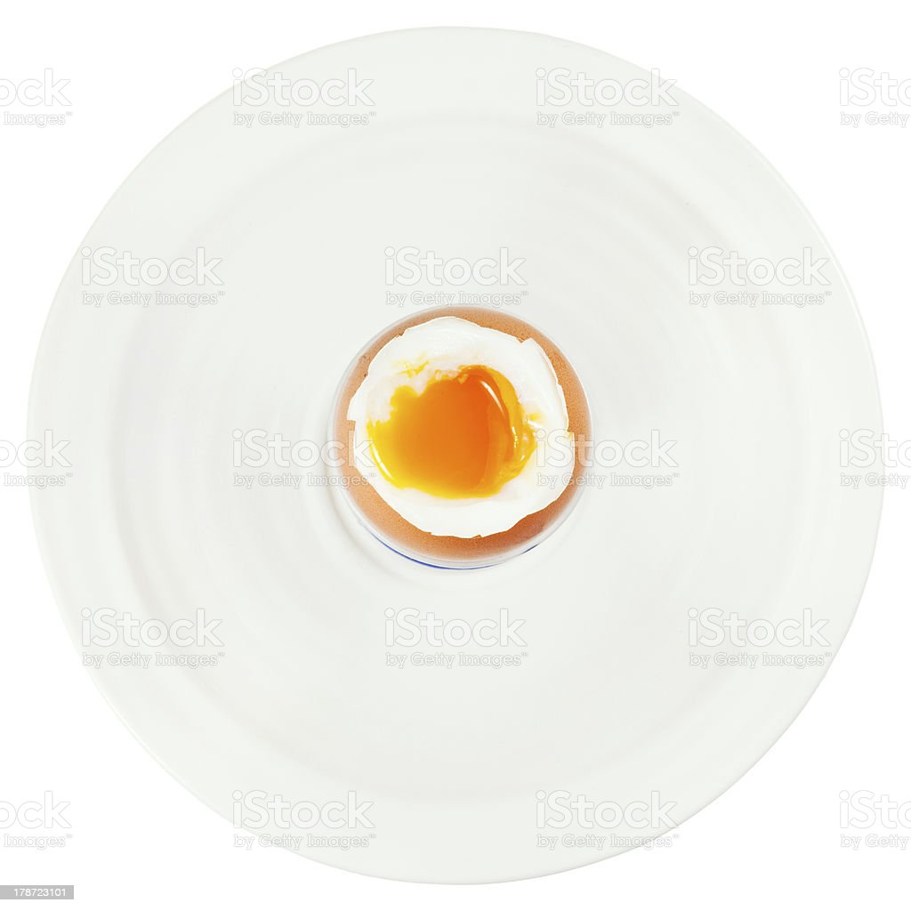 soft boiled egg in up on white plate stock photo