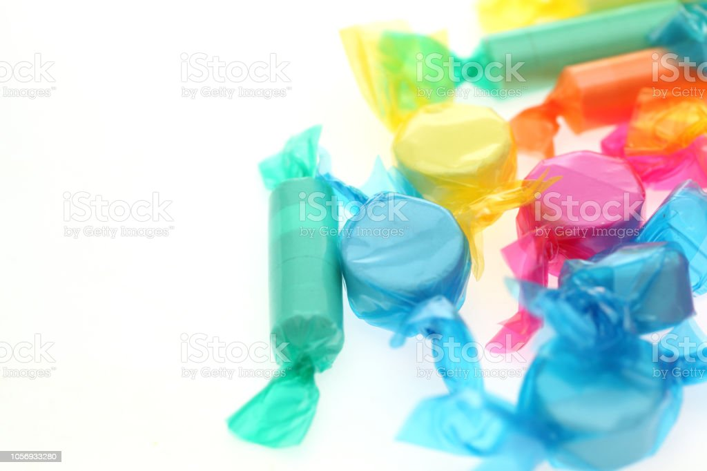soft candy in a white backgorund stock photo