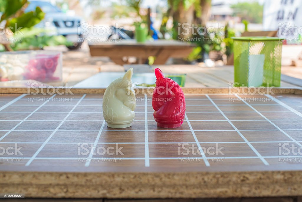 Soft chess white and red on board stock photo