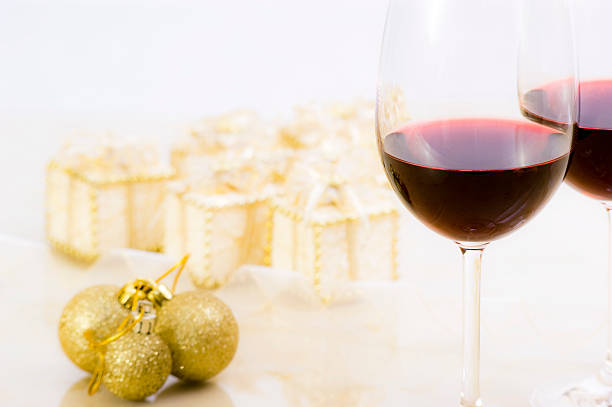 Soft Christmas Decoration with Gifts, Baubles and Wine stock photo
