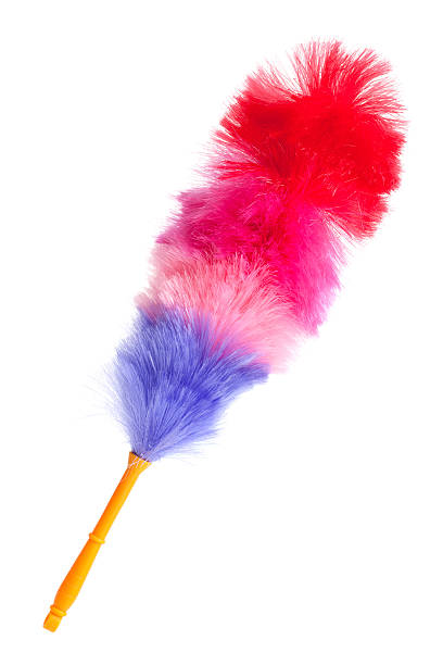 Soft colorful duster with plastic handle stock photo