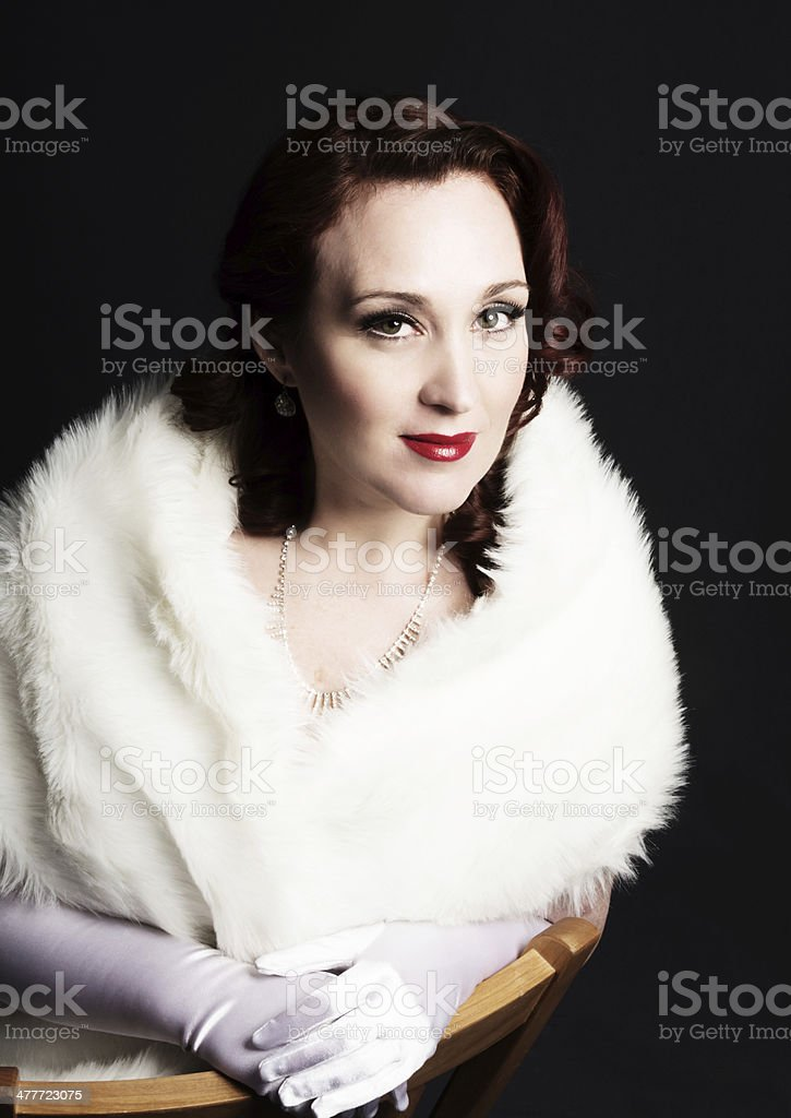 Soft colour glamour portrait, 1940s movie queen style. royalty-free stock photo