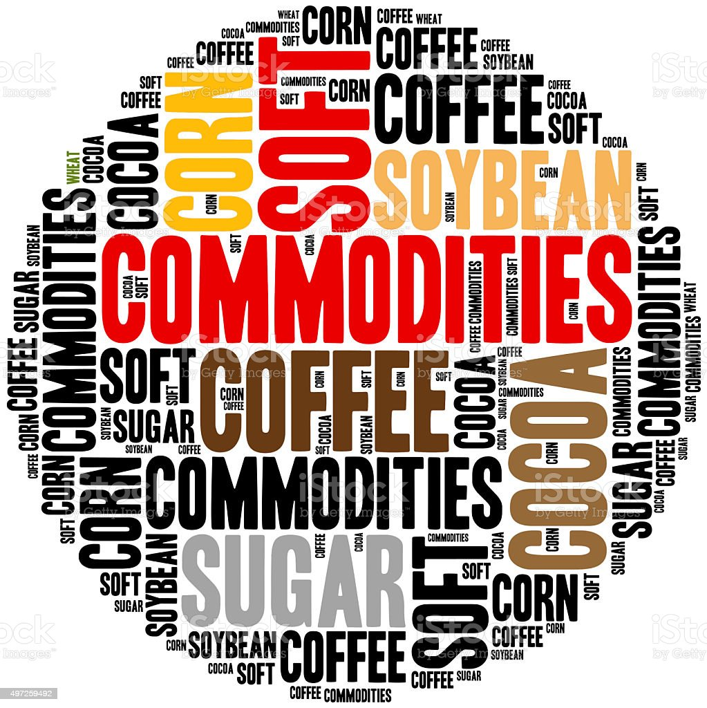 Soft commodities tradable on financial markets. stock photo