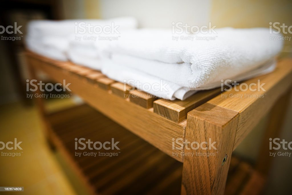 Soft cotton towel in hotel bathroom royalty-free stock photo