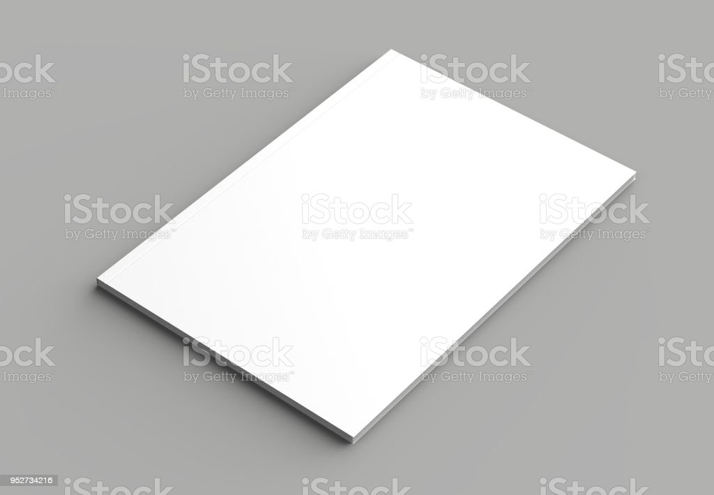 Soft cover brochure, magazine, book or catalog mock up isolated on gray background. 3D illustrating stock photo