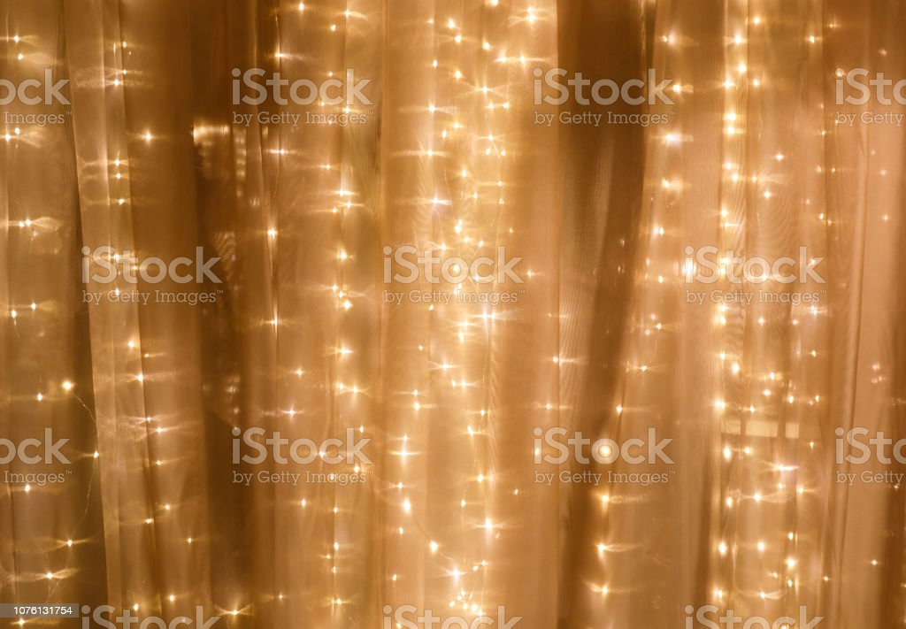 Soft curtain with string lights - Royalty-free Abstract Stock Photo