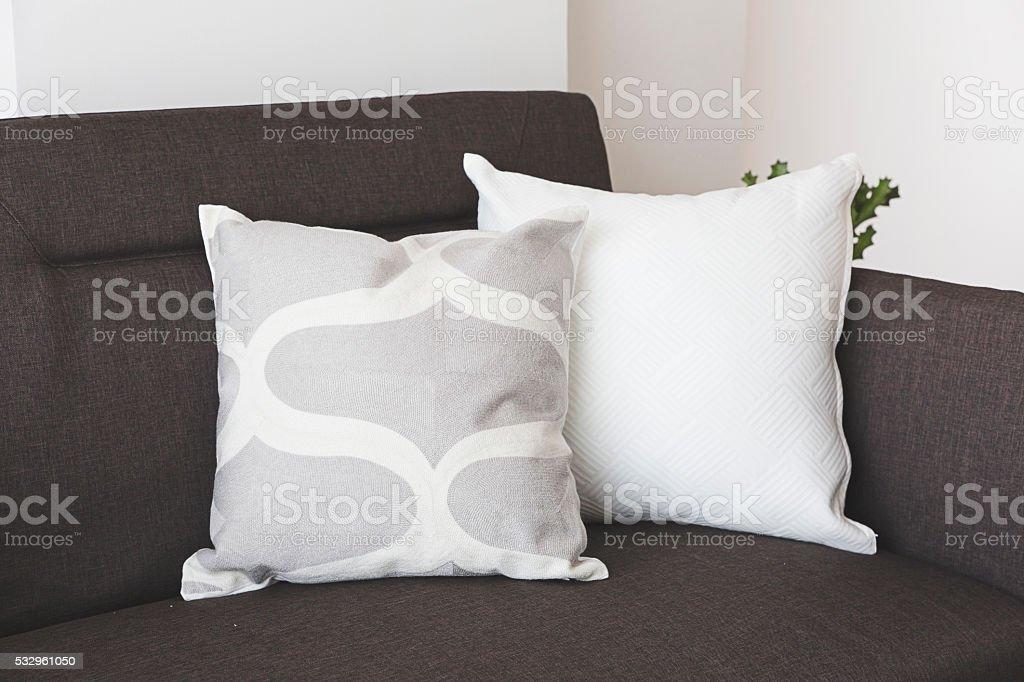 soft cushion on sofa stock photo