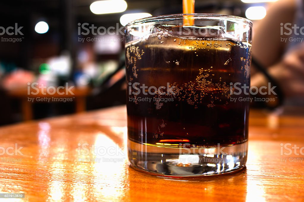 Soft drinks at night restaurant stock photo