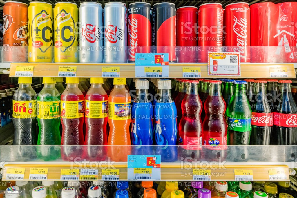 Soft drinks section in 7-11 stock photo