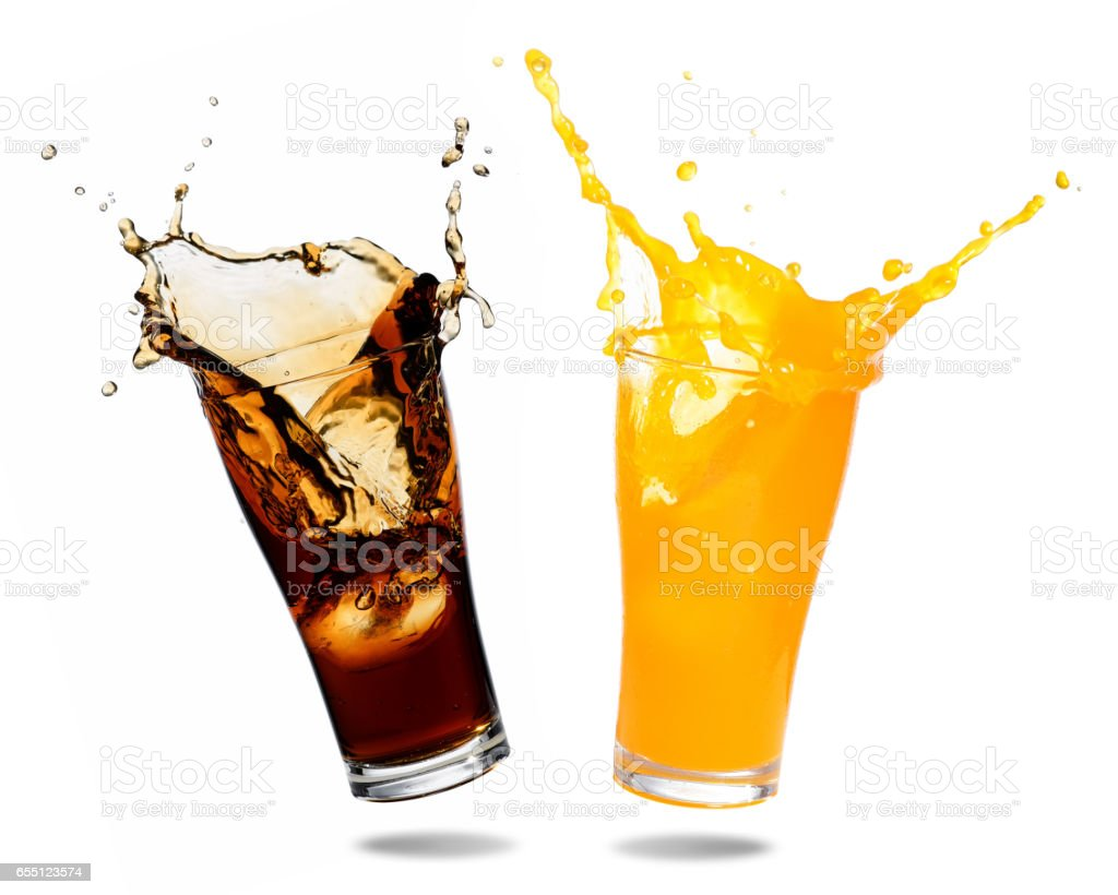 Soft drinks splashing stock photo