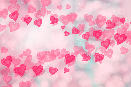 896306118 istock photo Soft falling hearts for Valentines Day on light pink bokeh background, wallpaper for Women's Day, marriage, wedding invitation. 1085193730