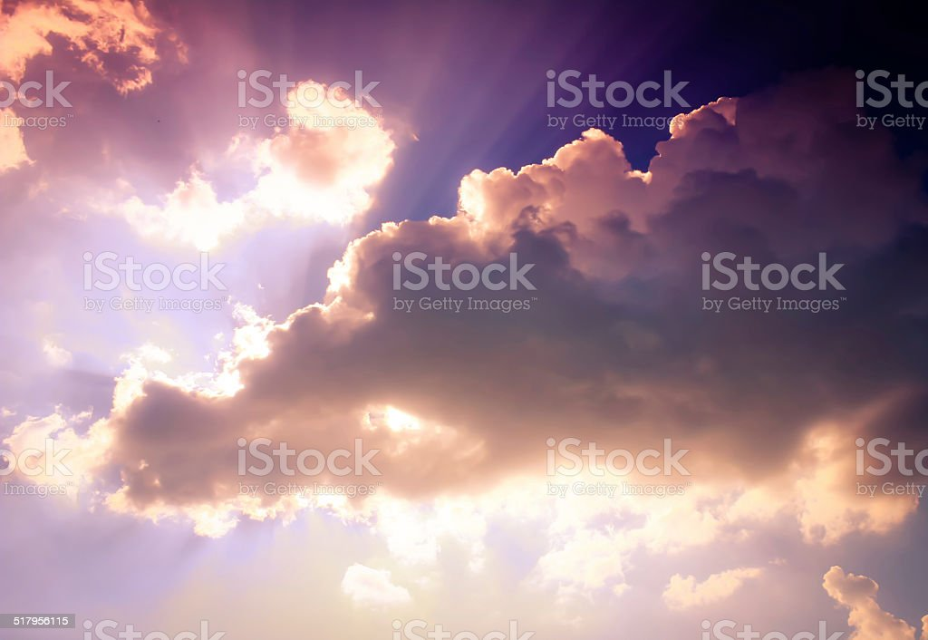 Soft, fluffy and colorful cloud formation stock photo