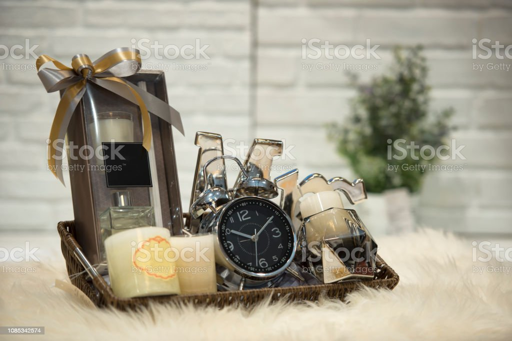Soft focus and background blurred Gift Baskets, Gift set .Holiday and...