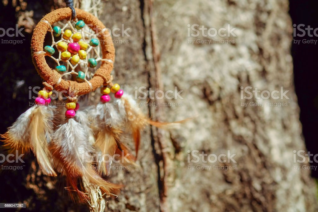 Soft focus and blurred Dream Catcher Blue Coral with wood background in vintage style. boho chic, ethnic amulet. stock photo