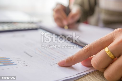 istock Soft focus businessman check profit cost at office,Concept business and finance 819397062
