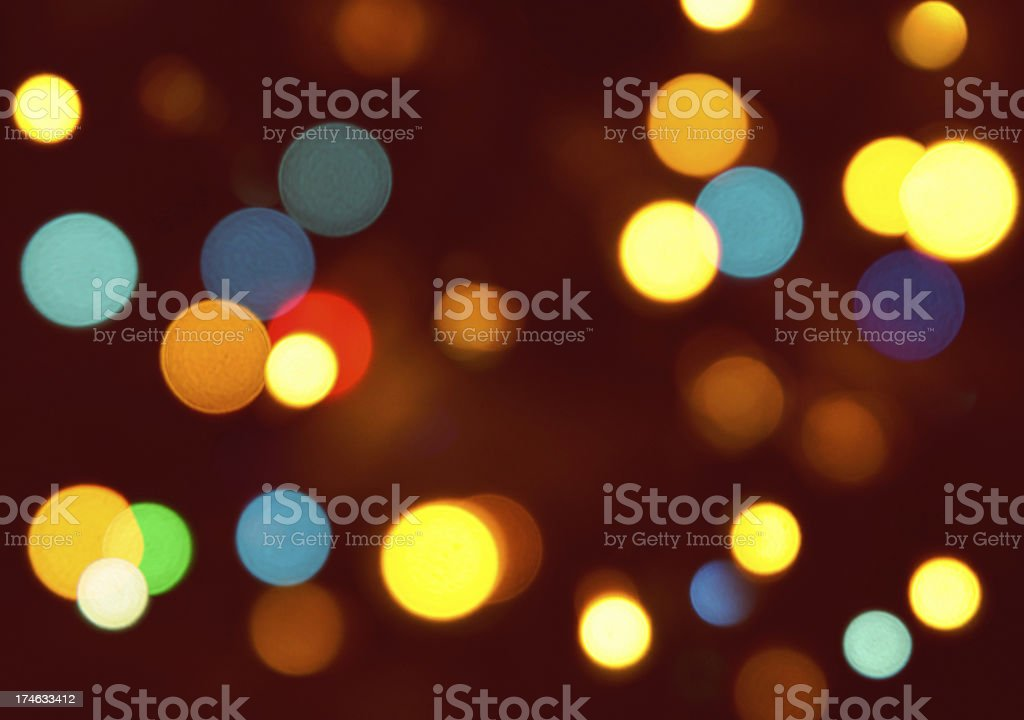 Soft Focus Christmas Tree Lights Background, Blue, Red, Orange, Yellow stock photo