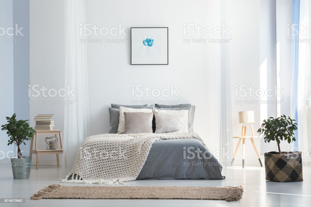 Soft gray and blue bedroom stock photo