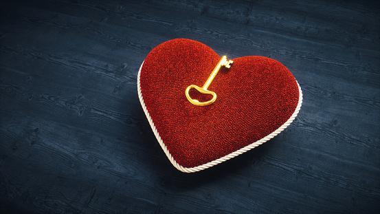 Soft Hearth Cushion With Golden Key
