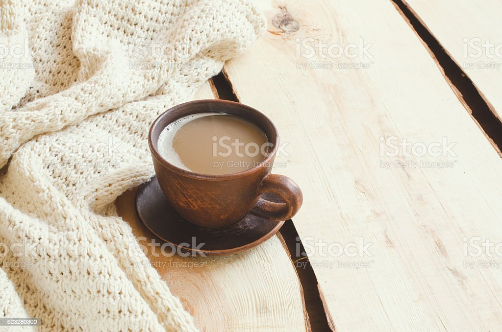 Soft Knitted Blanket and Cup of Cocoa. Cozy Christmas Holidays. stock photo
