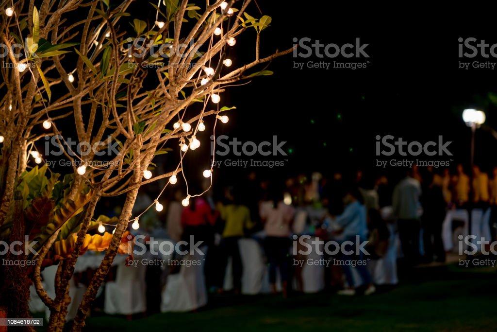 Soft light on party on night