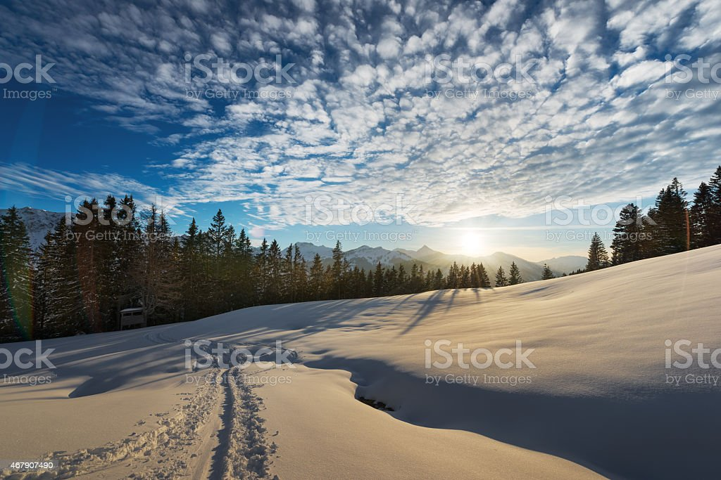 soft light on snow while sunset in austrian landscape stock photo