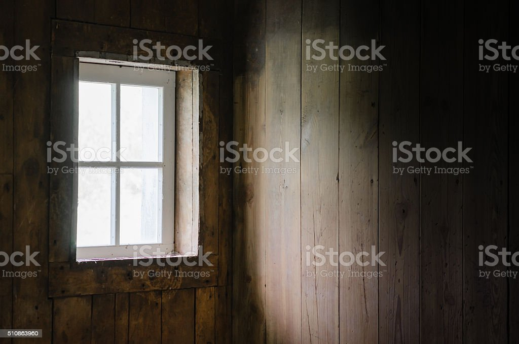 Soft Natural Window Light on Barn Board Interior. stock photo