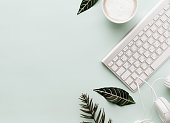 Soft Neutral Styled Desk Scenes With Coffee and Keyboard