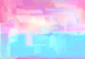 Soft pearlescent pastel abstract background art with brush strokes in blue and pink.