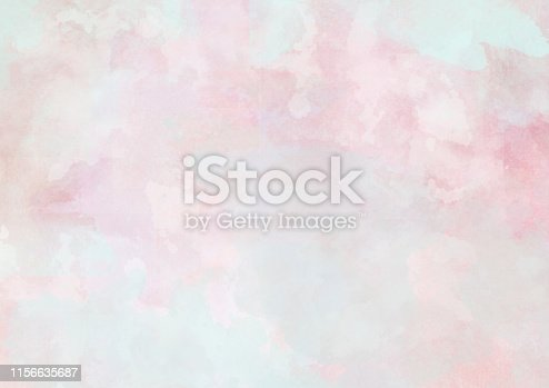 istock Soft pink blue watercolor clouds background painting 1156635687
