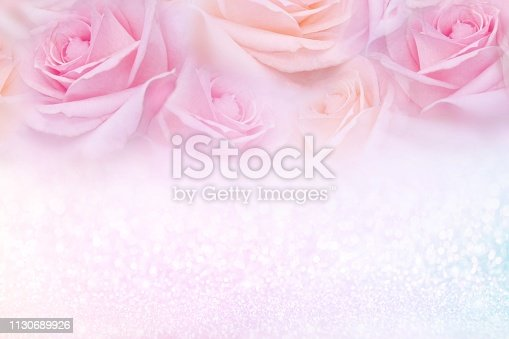 652288118istockphoto soft pink roses flower frame with glitter background and copy space for text 1130689926