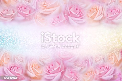 652288118istockphoto soft pink roses flower frame with glitter background and copy space 1130689952