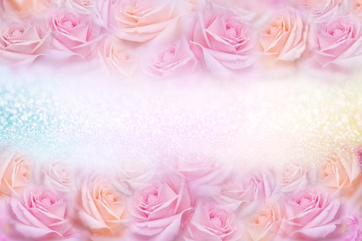 652288118 istock photo soft pink roses flower frame with glitter background and copy space 1130689952