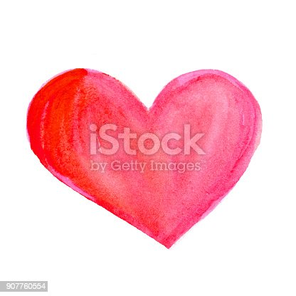 istock Soft Pink Watercolor stain in heart shape. Hand Painted Spot on a white background. Love, St. Valentines Day symbol