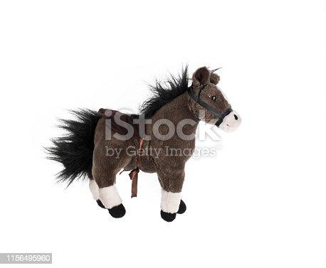soft plush toy pony on a white background