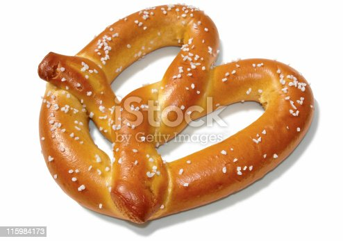 View of a soft pretzel with shadow isolated on white. Includes clipping path.