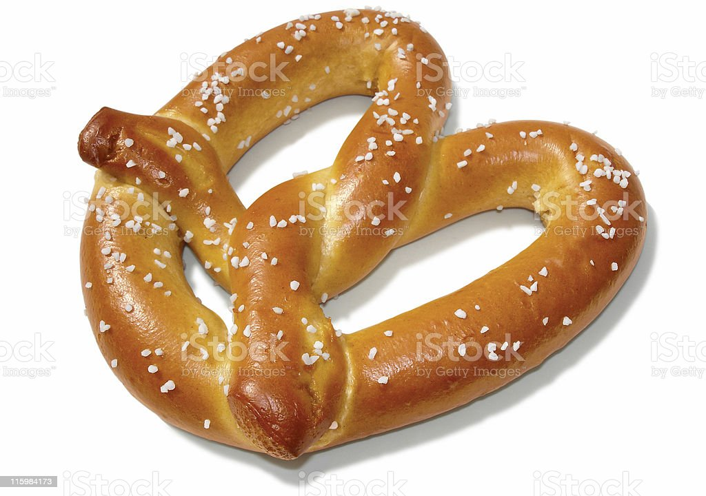 Soft Pretzel on White stock photo