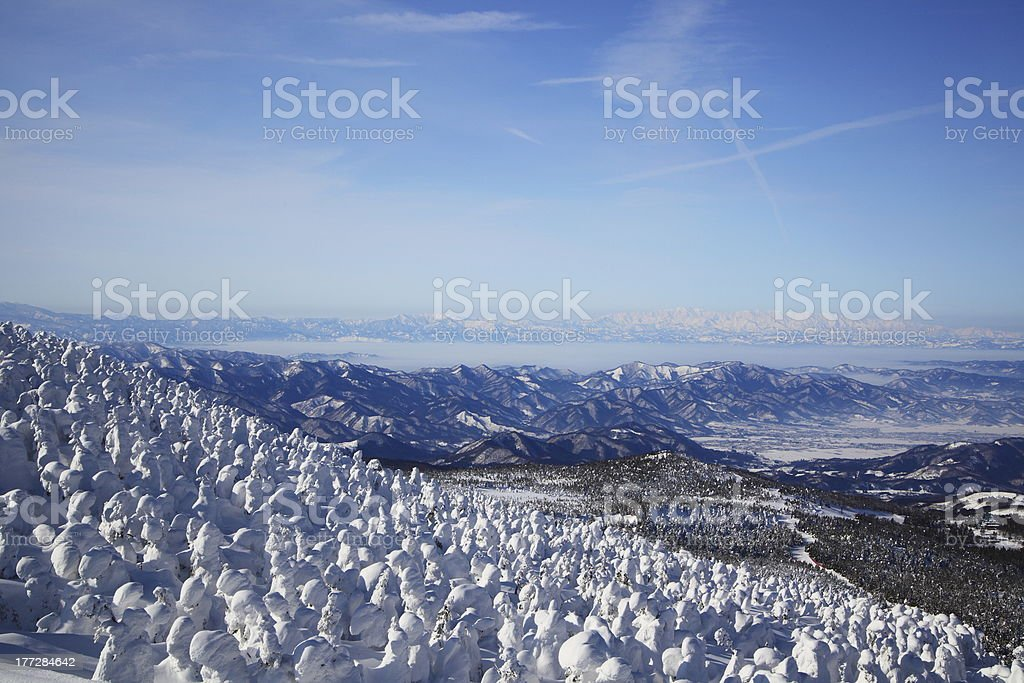 Soft rime and Mt. Iide in Japan stock photo