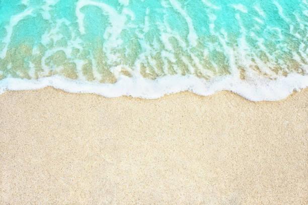 Soft sea wave on the beach stock photo