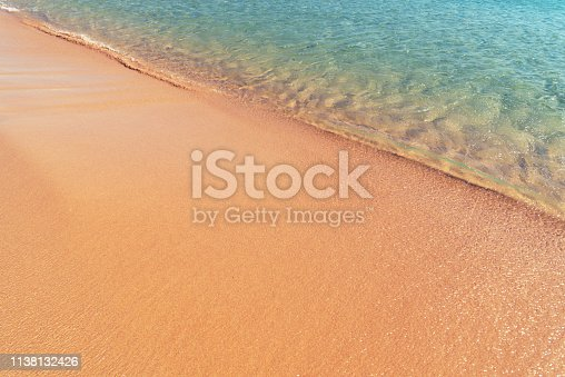 istock Soft sea wave on the sand beach - Summer background 1138132426