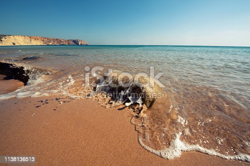 istock Soft sea wave on the sand beach - Summer background 1138136513